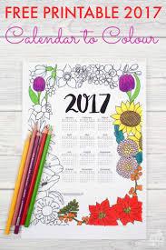 2017 floral colouring calendar coloring free printable