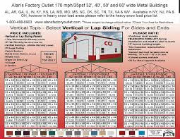 Pole Barn Price Alan U0027s Factory Outlet 32 40 50 And 60 Wide Metal Building Prices