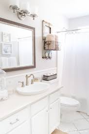 Bathroom Neutral Colors - bright and coastal bathroom update table and hearth