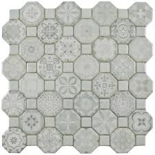 somertile 12 25x12 25 inch tesseract white ceramic floor and wall