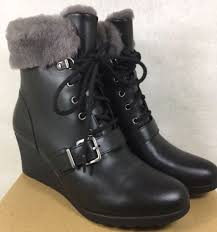 s ugg australia black boots ugg australia janney black leather shearling wedge ankle boots