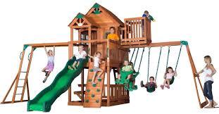 Weston Backyard Discovery Cedar Swing Sets Triumph Play Bailey Wooden Swing Set With Tire