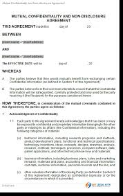 Non Disclosure Statement Template by Confidentiality Non Disclosure Agreement
