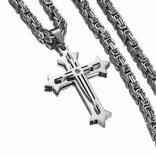 gold byzantine cross necklace images New design silver cross necklace men stainless steel christs jpg