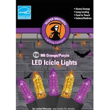 m6 purple and orange color led icicle halloween lights 150