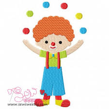 clowns juggling balls juggling balls embroidery design