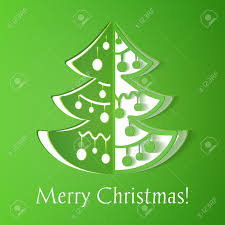 green paper cut out christmas tree illustration with smooth