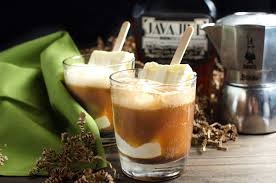 iced espresso macchiato boozy iced coffee float with homemade coffee liqueur the flavor