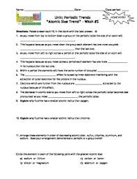 homework worksheets trends within the periodic table includes