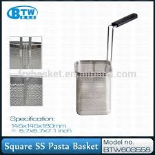 Pasta Basket Modern Flat Nylon Handle Square Stainless Steel Commercial Pasta