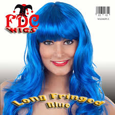 fringed fringe blue wig get the katy perry look amazon co uk