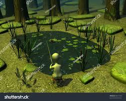 Forest Render 3d Render Cartoon Character Forest Pond Stock Illustration