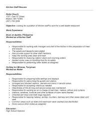 Chef Job Description Resume by Waiter Job Description Cna Duties List Graduate Resume Sample