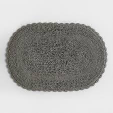 gray oval crochet bath mat world market
