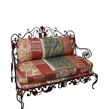 ornate wrought iron rococo style settee with cushions chairish