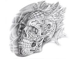 half sleeve skull and roses design