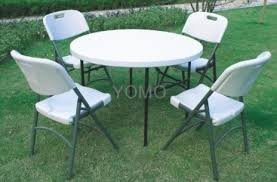 plastic round table and chairs 44inch round plastic folding table with four folding chairs 44inch