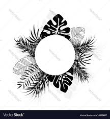 Tropical Design Tropical Design With Black Palm Leaves And Plants Vector Image