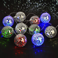 Novelty String Lights by 10 Multi Coloured Battery Led Disco Mirror Ball Fairy String