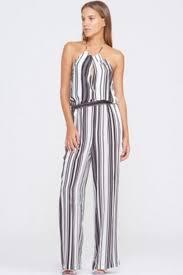 white sleeveless jumpsuit jumpsuit stripes black and white stripes halter neck