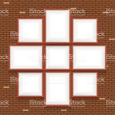 collage of picture frames on the brick wall vector set stock