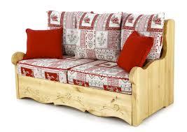 canap chalet canapé 2 places avec coffre pin massif sculpté vanoise dahu