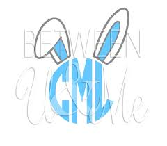 iron on monogram initials personalized easter bunny with monogram initials circle font iron