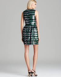 french connection dress siberian stripe sequin in green lyst