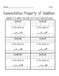commutative property of addition addition worksheets pinterest