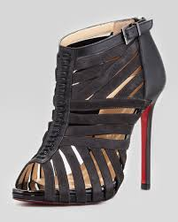 christian louboutin karina caged red sole ankle bootie black u2013 cishoes