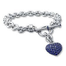 kay jewelers charmed memories kay lab created sapphire dangling heart bracelet sterling silver