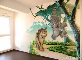 fresque chambre enfant fresque murale pour chambre d enfant thã me jungle bébé exquise