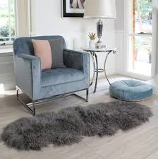 Fur Runner Rug Grey Smoke Tibetan Mongolian Sheepskin Floor Runner Rug Eluxury Home