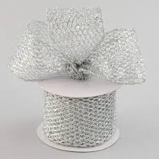 diamond mesh ribbon 2 5 glitter diamond mesh ribbon silver 10 yards rm937326