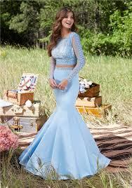light blue long sleeve dress mermaid high neck open back long sleeve light sky blue satin lace