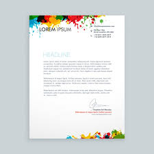 letter with colorful ink splash letterhead vector free download