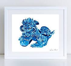 blue foo dogs foo dog blue foo dogs print vintage statue