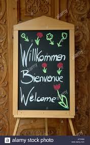 switzerland zermatt hotel welcome sign stock photo royalty free