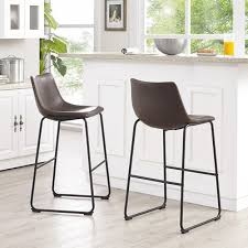 Brown Leather Bar Stool Wasatch Faux Leather Bar Stools Brown Walker Edison Furniture
