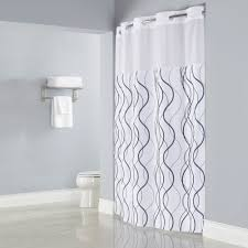 Matching Bathroom Window And Shower Curtains Hookless Hbh49wav01sl77 White With Gray Waves Shower Curtain With