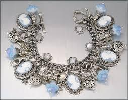 vintage charm bracelet necklace images Blue cameo charm bracelet crystal charm bracelet cameo jewelry jpg