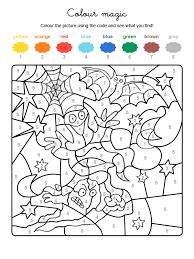 imagenes de halloween para imprimir y colorear colour by numbers fantasma y murciélago de halloween