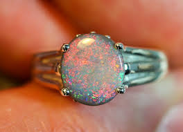 opal silver rings images Solid semi black opal sterling silver ring jpg
