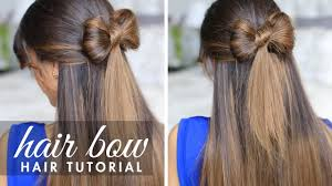 hair bow tie half up hair bow hair tutorial