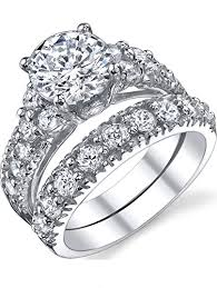 bridal ring set solid sterling silver 925 engagement ring set bridal