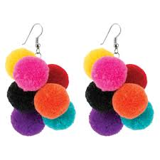 gujarati earrings wholesale shop for drop earring pompom bunch made with cotton