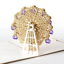 Wishes For Wedding Cards 3d Stereoscopic Ferris Wheel Greeting Pop Up Cards Birthday