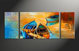 3 piece yellow canvas oil paintings boat ocean large pictures