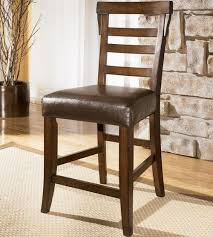Ladder Back Bar Stool Signature Design By Pinderton Upholstered Faux Leather