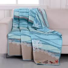 Nautical Quilts Coastal Beach Nautical Ocean Blue Cotton Quilt Set Luxury Linens